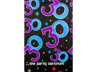 The Party Continues 30th Birthday Plastic Table Cover   Party Supplies