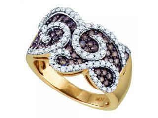 10k Yellow Gold 1.01Ct Cognac Diamond Ladies  Fashion Wedding Ring Band