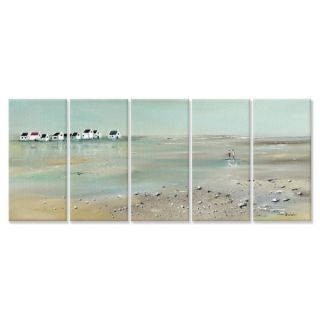 Stupell Industries A Stroll Down on the Beach 5 Piece Wall Plaque Set
