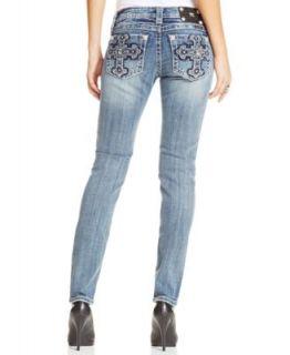 Miss Me Skinny Leg Sequined Crosses Jeans, Dark Wash