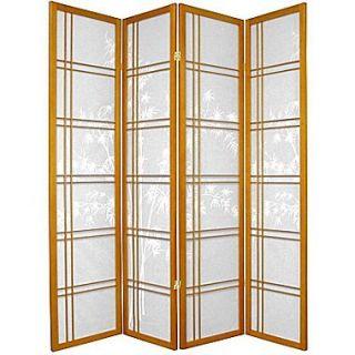 Oriental Furniture 72 x 56 Bamboo Tree Double Cross Shoji 4 Panel Room Divider; Honey