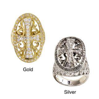 14k White Goldplated CZ Maltese Cross Ring