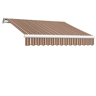 Awntech 168 in Wide x 120 in Projection Brown/Terra Cotta Stripe Slope Patio Retractable Remote Control Awning