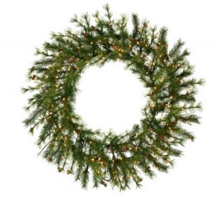 48 Prelit Mixed Country Pine Wreath by Vickerman —