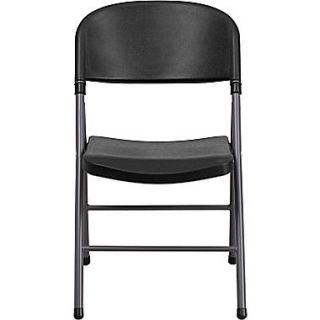 Flash Furniture HERCULES Series 330 lb. Capacity Plastic Folding Chair with Charcoal Frame, Black, 6/Pack