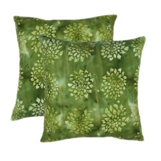 Cotton Batik Sage 20 inch Throw Pillows (Set of 2)