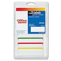 Brand Color Permanent Typewriter File Folder Labels 916 x 3 716  White Pack Of 248