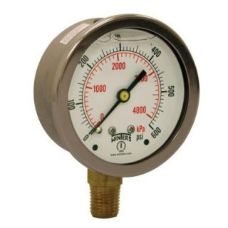 Winters Instruments PFQ Series 2.5 in. Stainless Steel Liquid Filled Case Pressure Gauge with 1/4 in. NPT LM and Range of 0 600 psi PFQ808R1