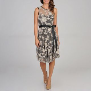 Richards Womens Fit and Flare Lace Overlay Dress
