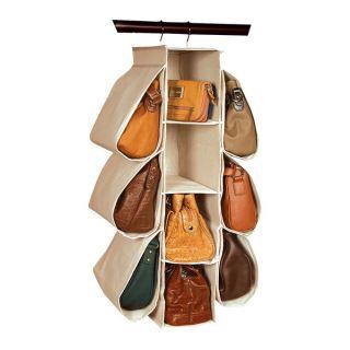 Richards Homewares Natural Canvas Hanging Handbag Organizer   16714720