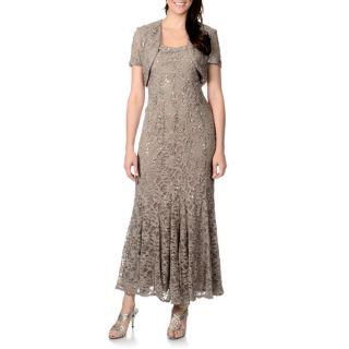 Richards Womens Petite Mocha Lace Overlay 2 piece Gown Set