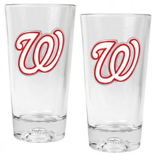 Set of 2 Pint Ale Glasses with Baseball Sculpted Base   Washington Nationals   7570165