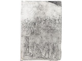 Page from a Sketchbook Depicting a City under Siege and a Scene of Homage(recto)&#59; standing figures and a horseman&#59;