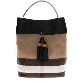 Burberry Black Medium Canvas Check and Leather Ashby Hobo Bag
