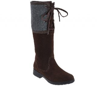 Clarks Suede Medium Calf Tall Shaft Boots   Marrian Anya —