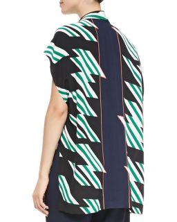 Derek Lam 10 Crosby Printed Oversized Blouse W/ Tie Front