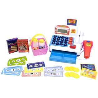 Just Kidz Cash Register   Blue and Pink   Toys & Games   Learning