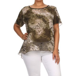 Womens Plus Size Animal Print Relaxed Blouse   17669271