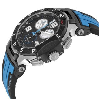 Tissot T Race MotoGP Chronograph Black Dial Black and Blue Silicone
