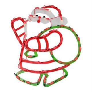 """17.75"""" Lighted Santa with Green Sack of Gifts Christmas Window Silhouette Decoration"""