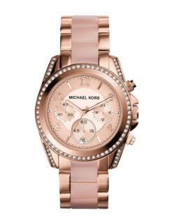 Michael Kors  Mid Size Rose Golden Stainless Steel Blair Chronograph Glitz Watch