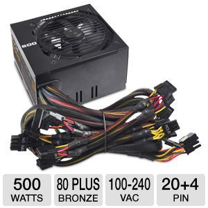 EVGA 500B 500 Watt Bronze Power Supply Unit   80 PLUS Bronze, 120mm Fan, Single +12V Rail Design, 100 240 VAC, 50/60 Hz, Black   100 B1 0500 KR