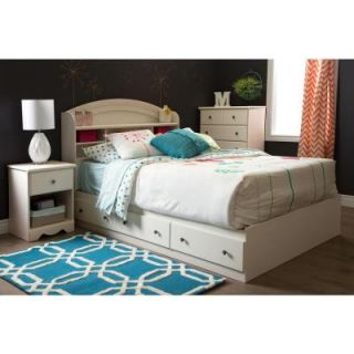 South Shore Country Poetry Full Size Mates Bed Frame with 3 Drawer in White Wash 9031211