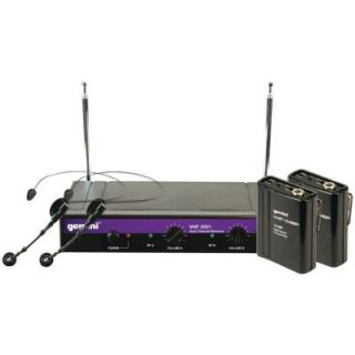 Gemini Dual Channel VHF Wireless Microphone System with 2 Headsets and 2 Belt Pack Transmitters VHF 2001HL