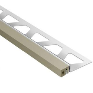 Schluter Dilex KSA Stainless Steel with Grey Insert 3/8 in. x 8 ft. 2 1/2 in. Rubber and Metal Movement Joint Tile Edging Trim EKSA100G