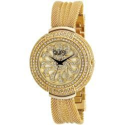 Burgi Womens Sizzling Diamond and Crystal Goldtone Bangle Watch