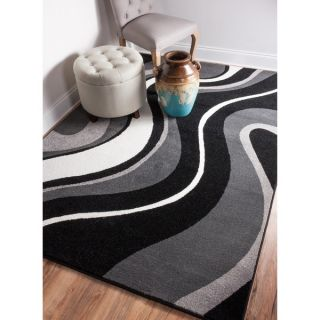 Well Woven Mano Shades of Grey Waves Grey Polypropylene Rug (53 x 73