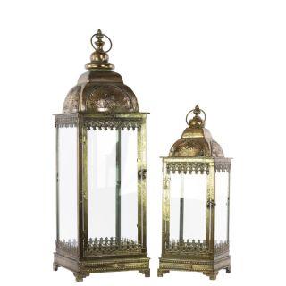 Pierced Bronze Metal Lantern with Ring Hanger (Set of 2)   16927758
