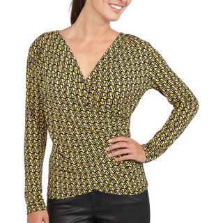 Miss Tina Women's Pleated Wrap Top