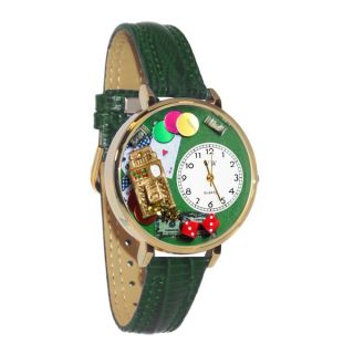 Whimsical Womens Casino Theme Hunter Green Leather Mineral Crystal