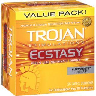 Trojan Stimulations Ecstasy Ultrasmooth Lubricant Latex Condoms, 26 count