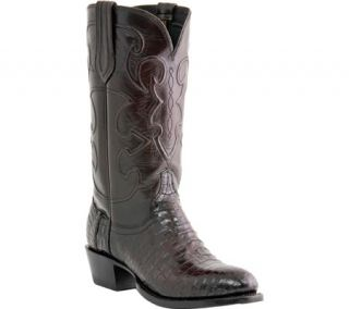 Mens Lucchese Since 1883 M1637.R4 Rounded Toe Cowboy Heel Boot   Black Cherry Belly Crocodile/Cord Derby Calf