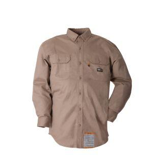 BERNE APPAREL Men's XX Large Khaki Twill Cotton Nylon Blend Long Sleeve Uniform Work Shirt