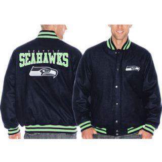 Seattle Seahawks Pump Fake Promo Jacket   Navy Blue
