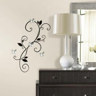 RoomMates 5 in. x 11.5 in. Scroll Sconce Peel and Stick Wall Decal with Bendable Butterfly Mirror RMK2689SCS
