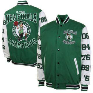 Boston Celtics 17X NBA Finals Champs High Point Commemorative Full Button Jacket   Kelly Green/White