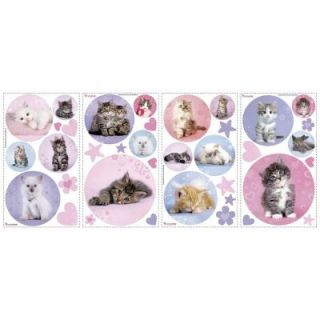 RoomMates 5 in. x 11.5 in. Kitty Dots Peel and Stick Wall Decal RMK1614SCS