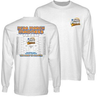 NCAA 2013 March Madness Final Four Mens Basketball Championship 68 Team Bracket Long Sleeve T Shirt   White