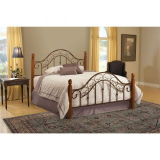 Hillsdale Furniture 310BQ San Marco Queen Bed Set in Brown Copper and Light Rust   Rails Not Included