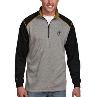 New Orleans Saints Antigua Breakdown 1/4 Zip Jacket   Gray