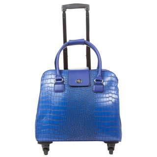 Hang Accessories Blue Crocodile Carry on Rolling Spinner Tote Bag
