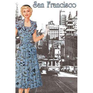 San Francisco Walking Dress I by Sara Pierce Vintage Advertisement
