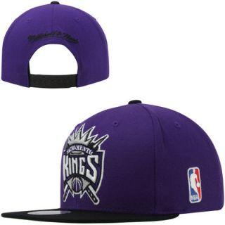 Mitchell & Ness Sacramento Kings XL Logo 2 Toned Snapback Hat   Purple/Black