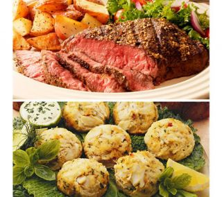 Kansas City Steak (8) 6oz Sirloin Steaks & (8)3oz Crab Cakes —
