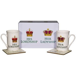 Home Essentials and Beyond 5 Piece Ladyship and His Lord 10 oz. Mug