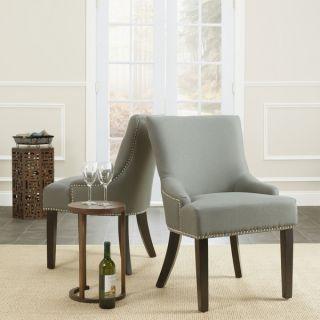 Safavieh En Vogue Dining Loire Grey Linen Nailhead Side Chairs (Set of